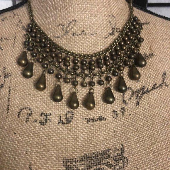 vintage paparazzi short brass necklace